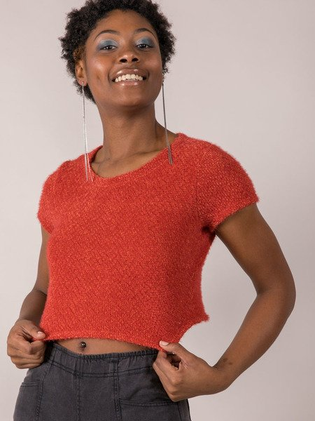Rust Colored Fuzzy Sam Short Sleeve Sweater