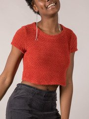 Rust Colored Fuzzy Sam Short Sleeve Sweater Side
