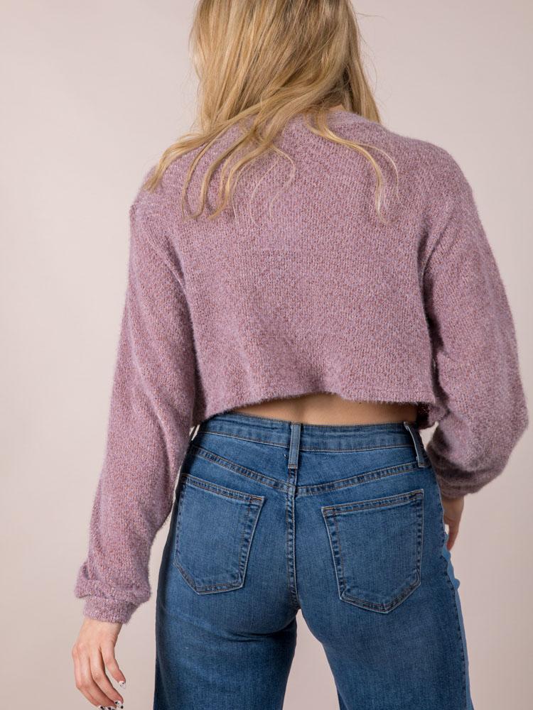 Miriam Mockneck Sweater Trendy Crop  Back