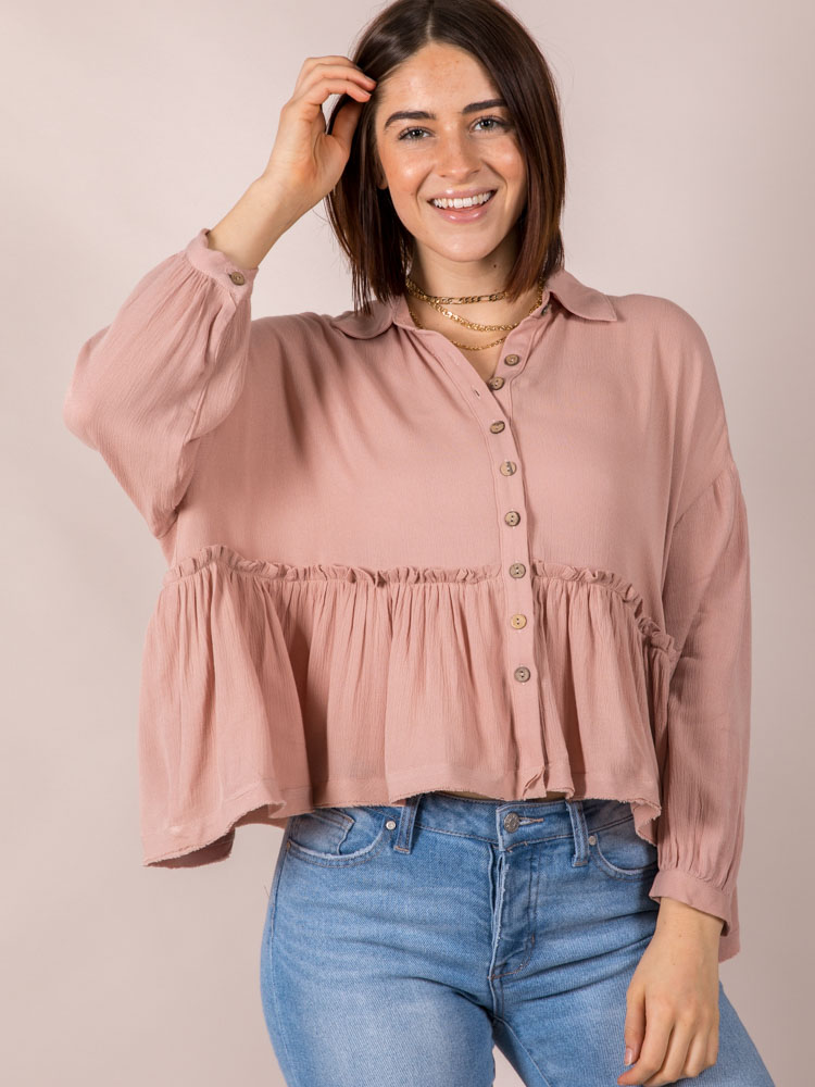 Ray Ruffle Blouse Dusty Pink Wide Cut Front