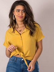 Button Up Tie Front Blouse Mustard Rebecca Top