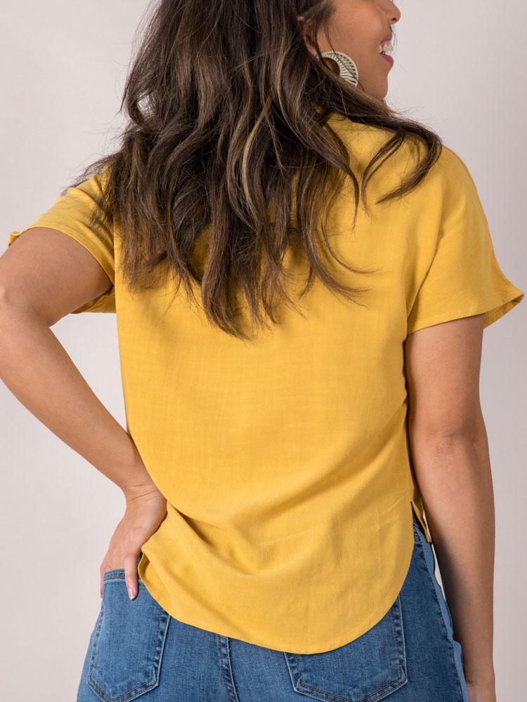 Button Up Tie Front Blouse Mustard Rebecca Top Back
