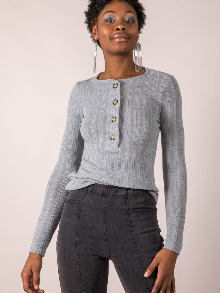 Jenna Button Top Long Sleeve Stylish Basic Front