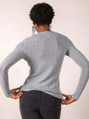 Jenna Button Top Long Sleeve Stylish Basic Back