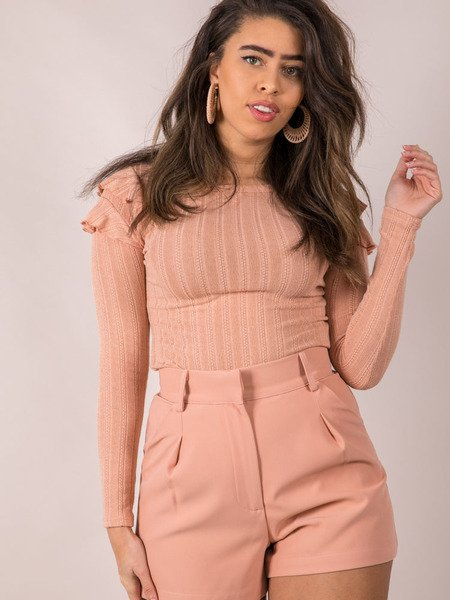 Mellow Top Ruffle Shoulder Long Sleeve Pink Front