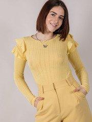 Mellow Top Ruffle Shoulder Long Sleeve Yellow Front