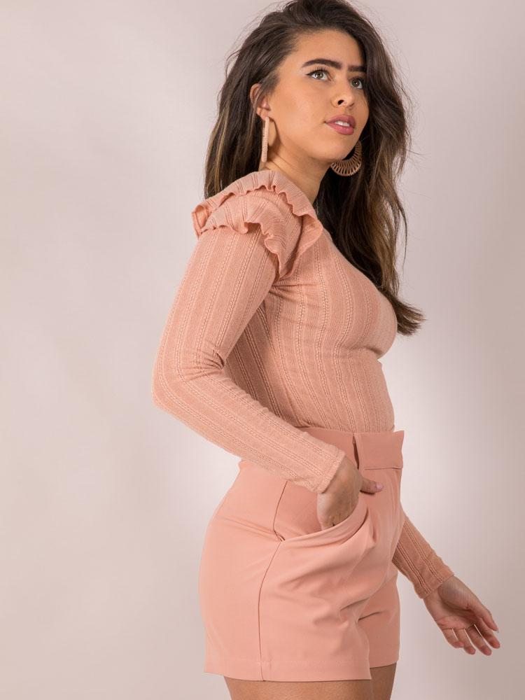Mellow Top Ruffle Shoulder Long Sleeve Pink Side