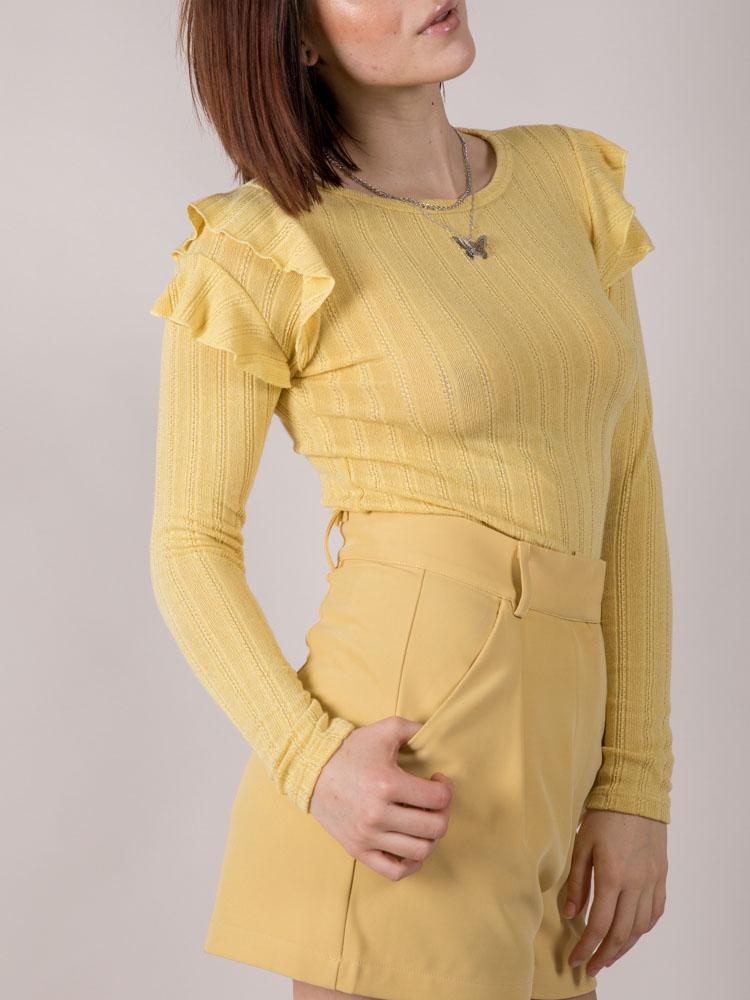 Mellow Top Ruffle Shoulder Long Sleeve Yellow Side