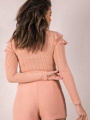 Mellow Top Ruffle Shoulder Long Sleeve Pink Back