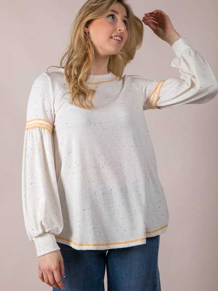 Claudia Confetti Top Relaxed Spotted Bell Sleeve