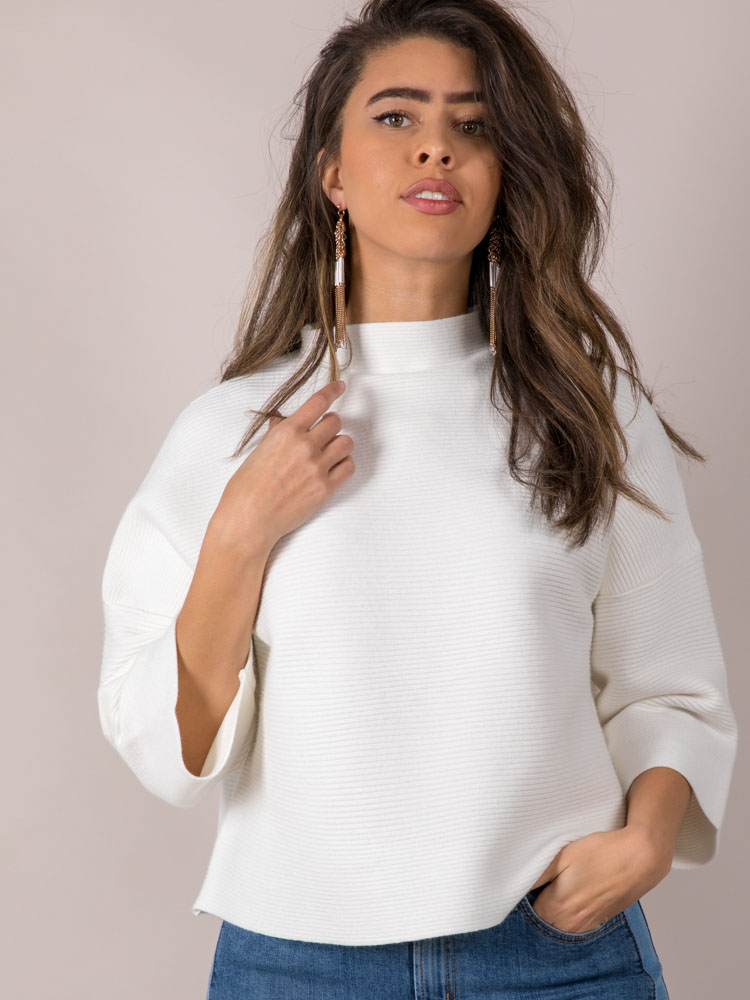 Oversized Fashionista Look Ivory Shauna Structured Sweater