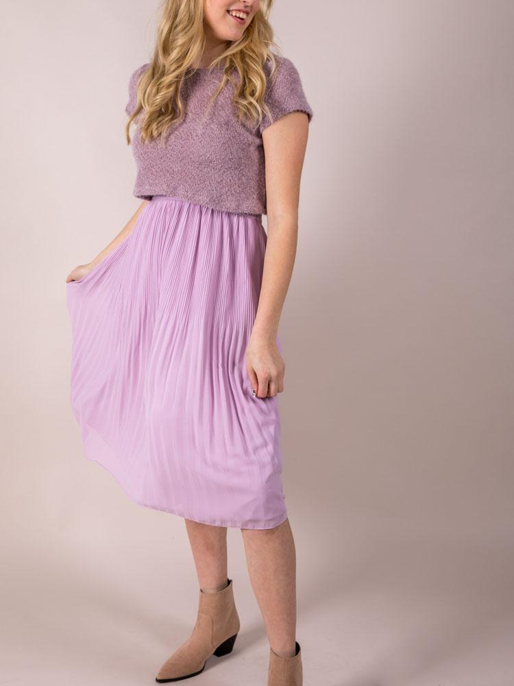 High Rise Purple Midi Violet Skirt