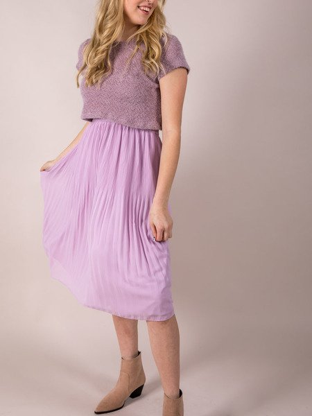 High Rise Purple Midi Violet Skirt
