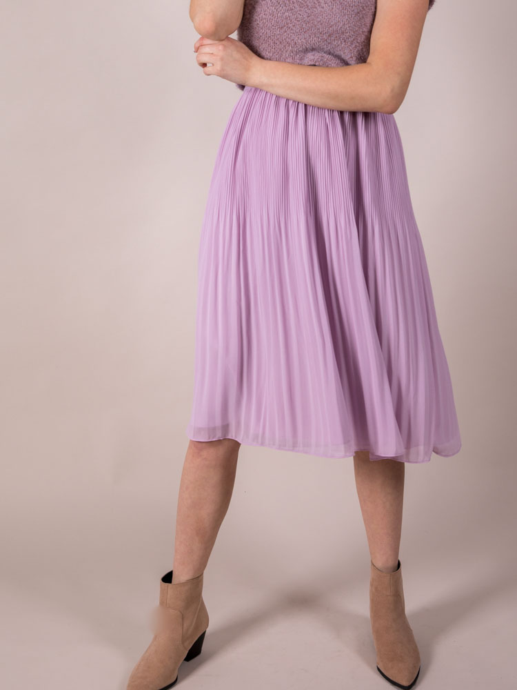 High Rise Purple Midi Violet Skirt Front