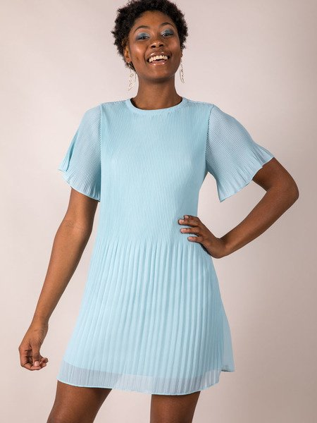 Blue Pleated Dress Front Adelaide Dress