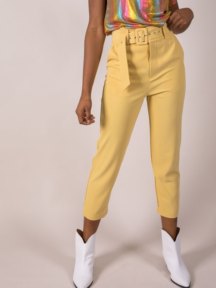 Belted Crop Bottoms Mustard Holland Pants