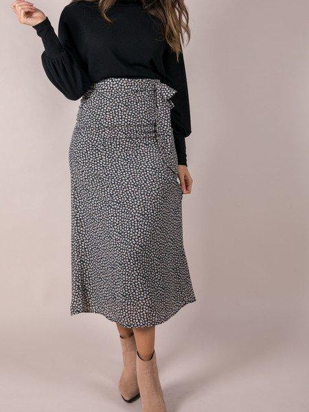Rylan Floral Skirt Tie Waist Midi Front