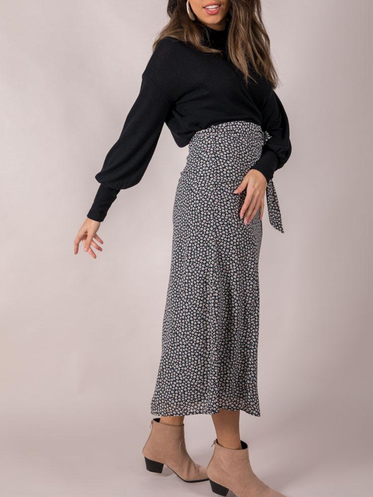 Rylan Floral Skirt Tie Waist Midi Side