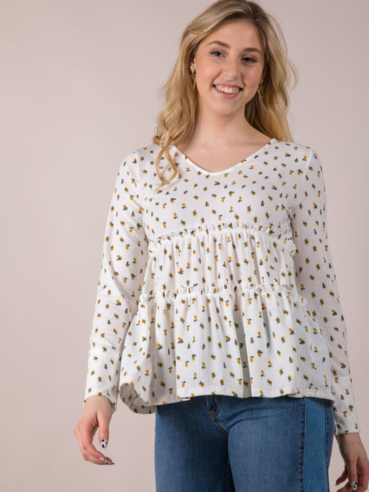 Ruffle Dainty Long Sleeve Front Aubrie Flower Top