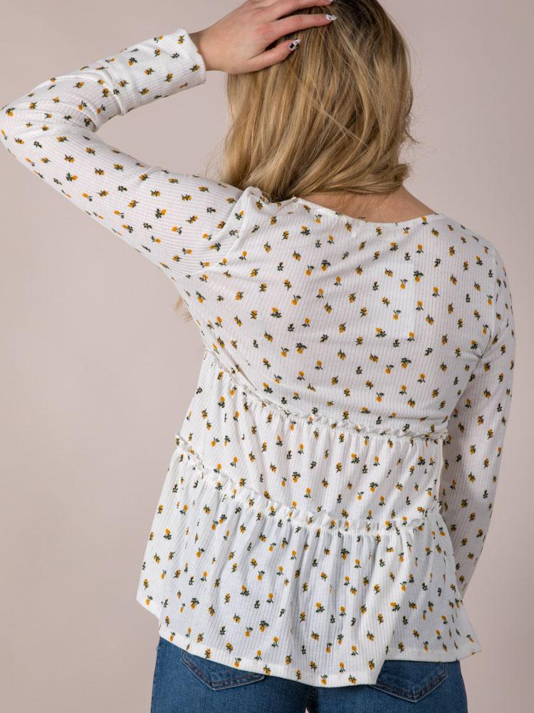 Ruffle Dainty Long Sleeve Back Aubrie Flower Top