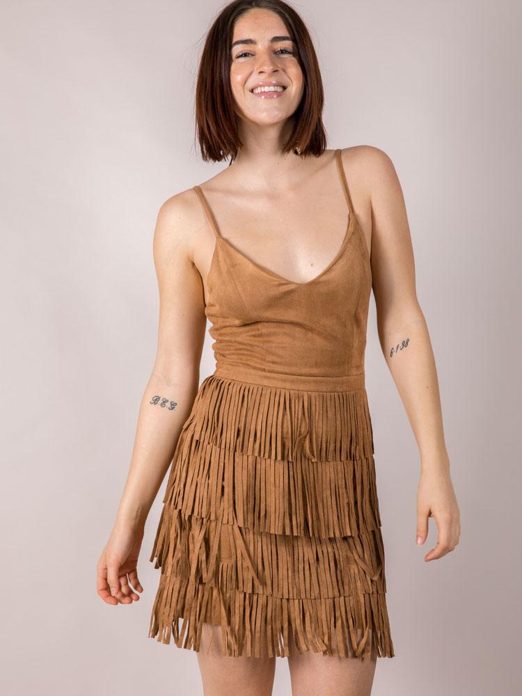 Bodycon Dancing Suede Brown Sugar Valeria Fringe Dress