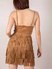 Bodycon Dancing Suede Brown Sugar Valeria Fringe Dress