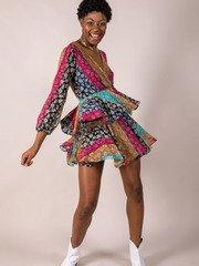 Mix Pattern Flower Lauren Floral Dress Front