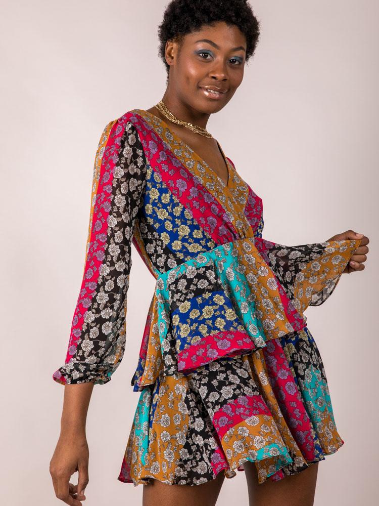 Mix Pattern Flower Lauren Floral Dress
