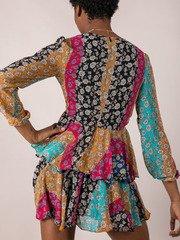 Mix Pattern Flower Lauren Floral Dress Back