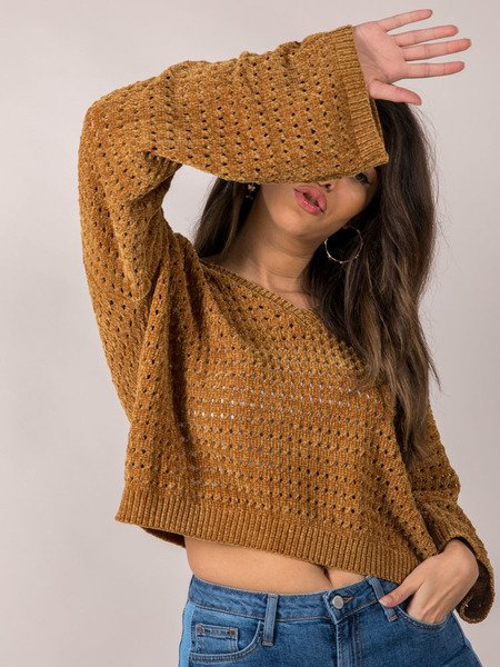 Iza Sweater Soft & Oversized Mustard Crop