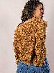 Iza Sweater Soft & Oversized Mustard Crop Back