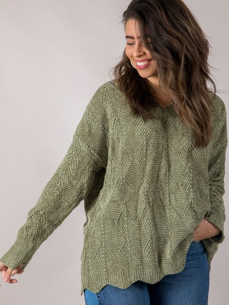 Drenna Oversized Sweater Green Front