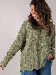 Drenna Oversized Sweater Green Front