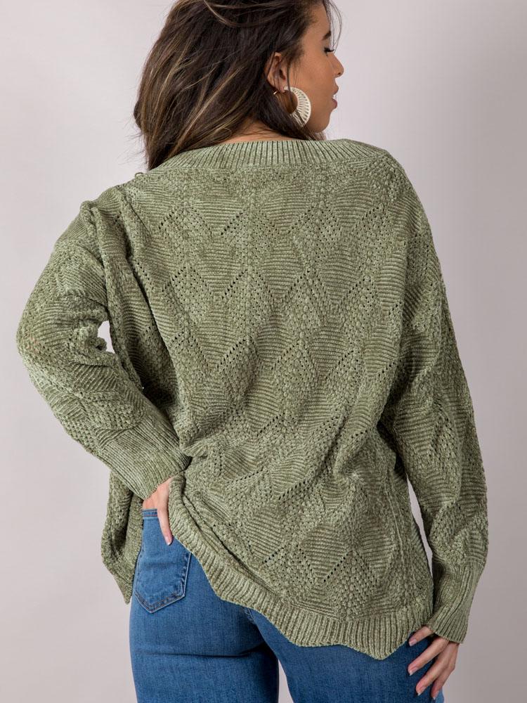 Drenna Oversized Sweater Green Back