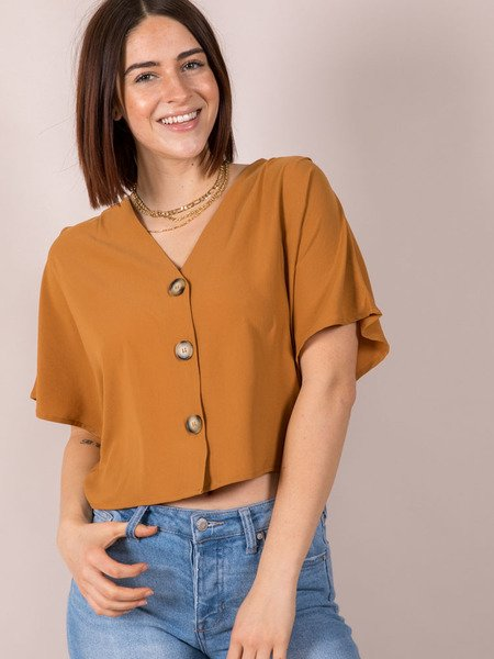 Button Front Casual Crop Front Jesse Top