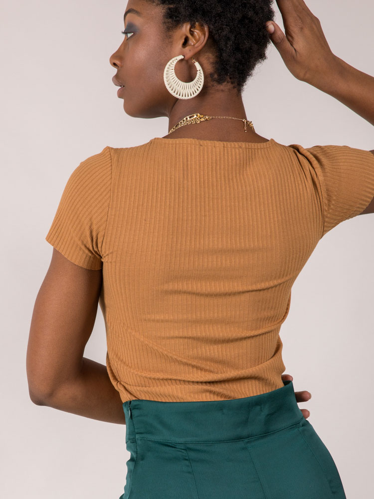 Ribbed Short Sleeve Chaley Top