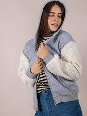 Furry Sleeve Hoodie Cozy Thick Zip Up Front