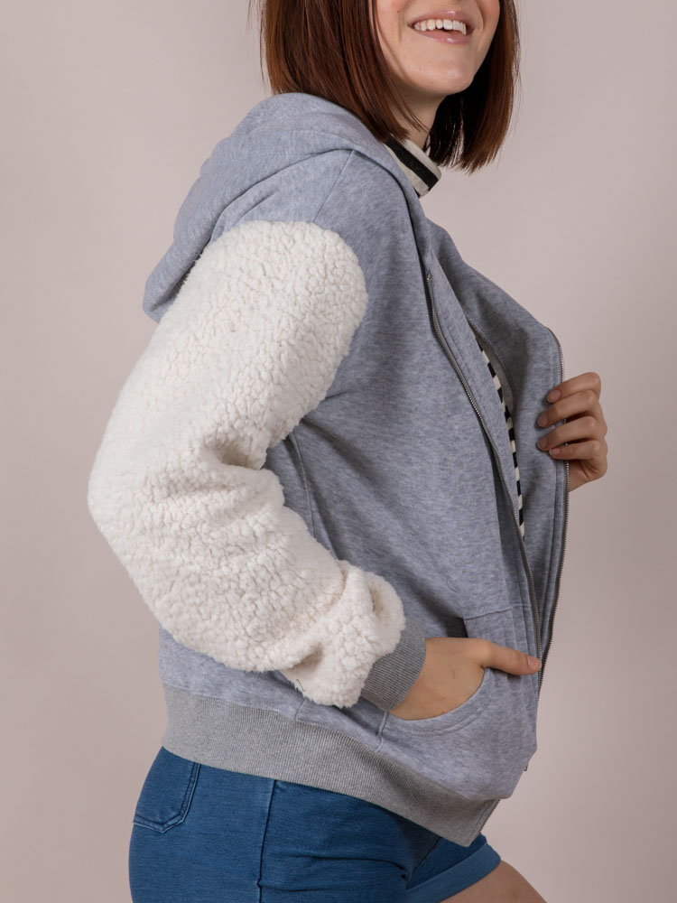 Furry Sleeve Hoodie Cozy Thick Zip Up Side