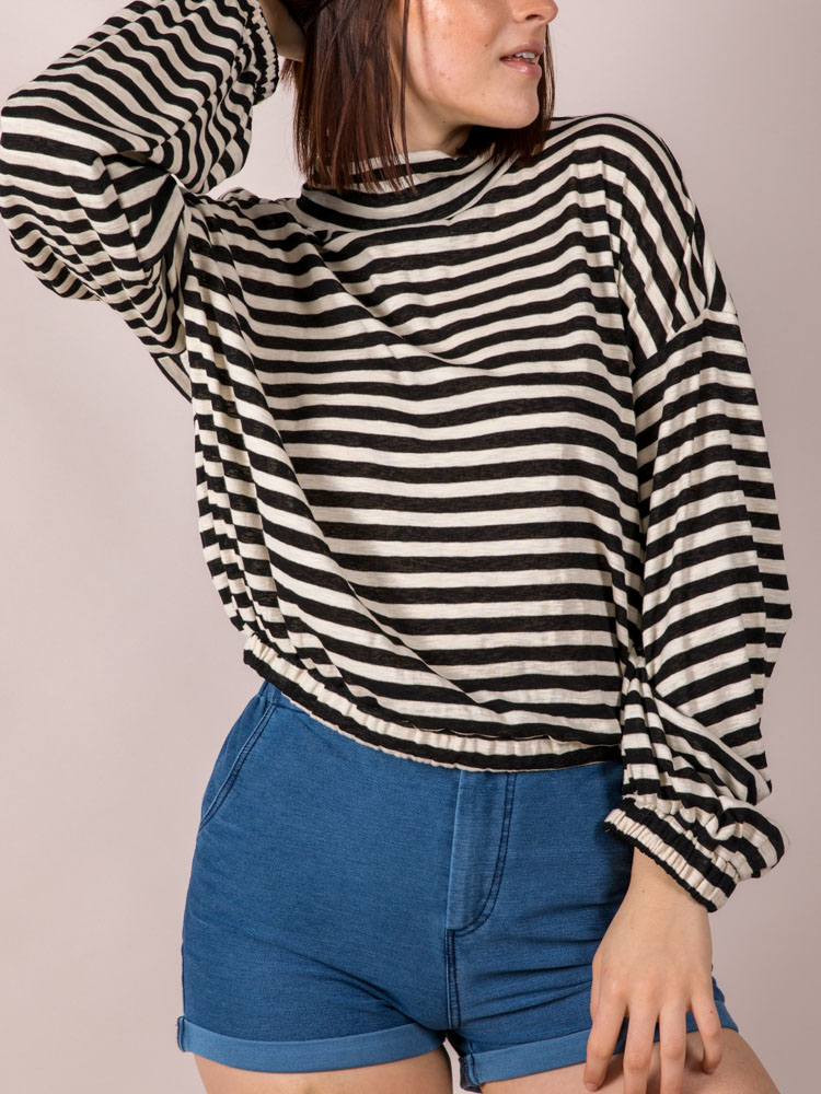 Mabel Striped Long Sleeve High Neck Black Front