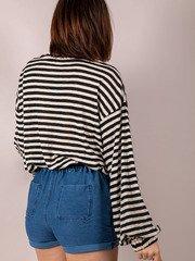 Mabel Striped Long Sleeve High Neck Black Back