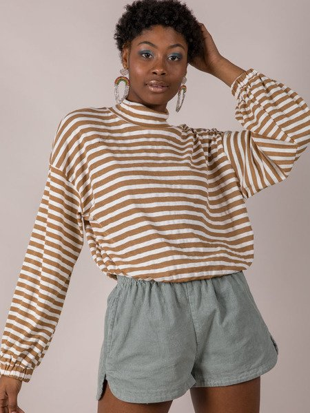 Mabel Striped Long Sleeve High Neck Camel