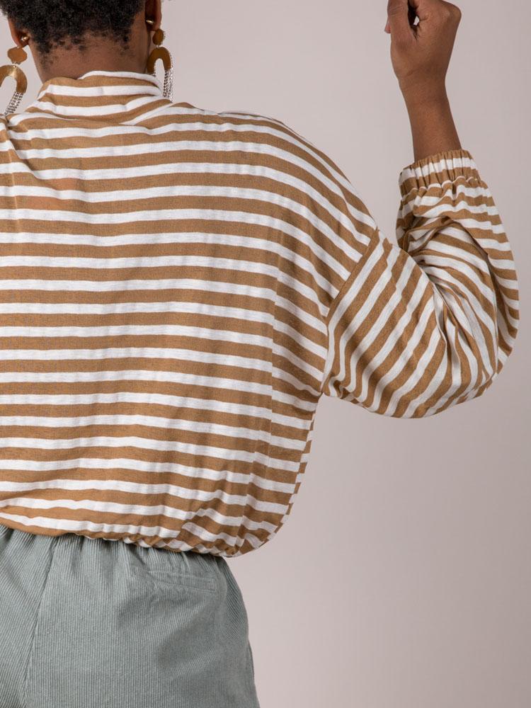 Mabel Striped Long Sleeve High Neck Camel Back