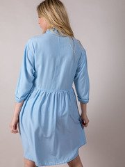 Bae Blue Dress Button Up Baby Doll Back