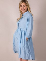 Bae Blue Dress Button Up Baby Doll Side