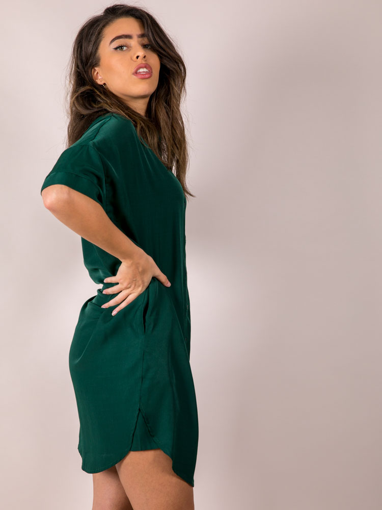 Hunter Jane Dress Button Up + Silky Green Pocketed  Side