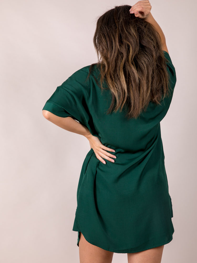Hunter Jane Dress Button Up + Silky Green Pocketed  Back