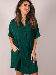 Hunter Jane Dress Button Up + Silky Green Pocketed  Front