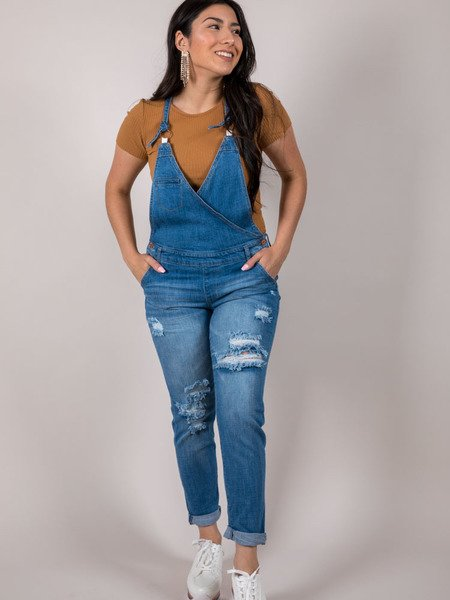 Switch Overalls V Neck Cross Denim Piece