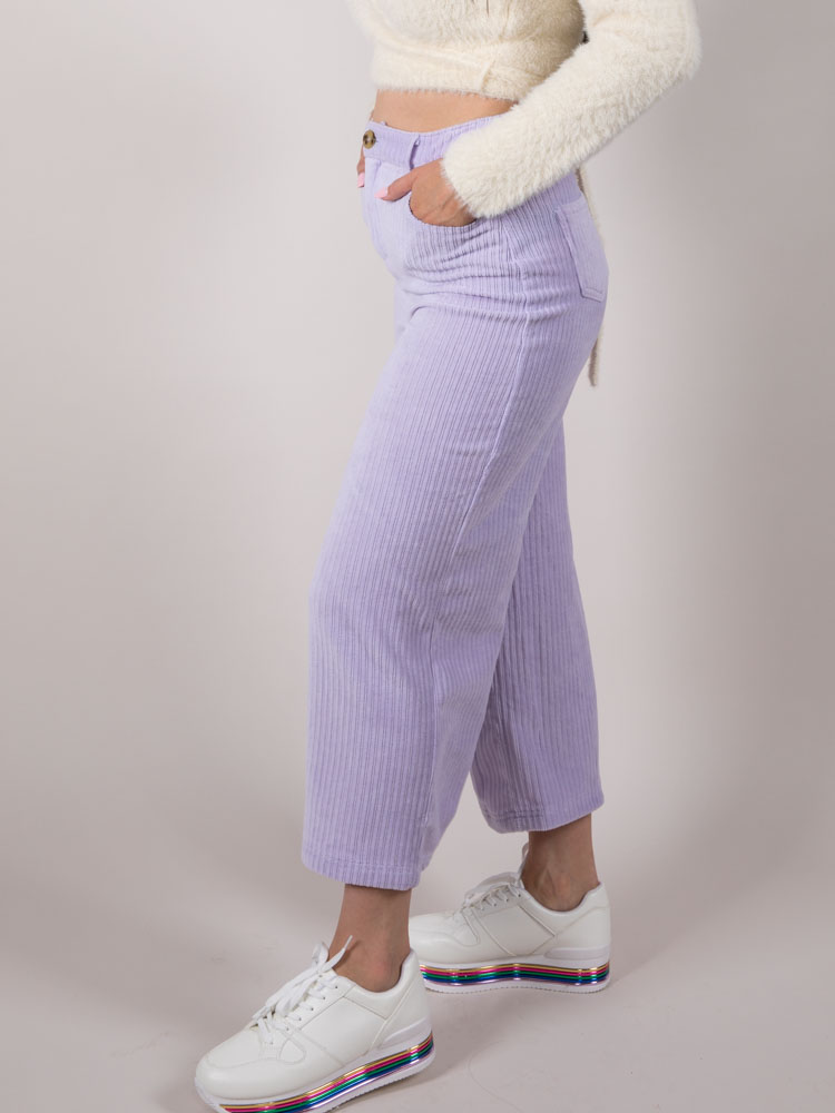 Frida Pants Corduroy Boyfriend Crops Lavender  Side