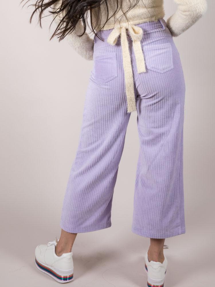Frida Pants Corduroy Boyfriend Crops Lavender Back